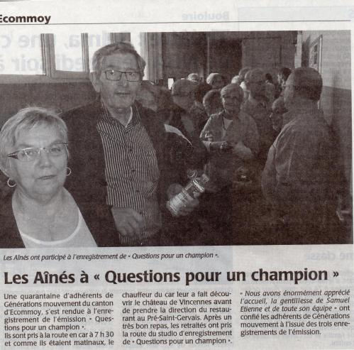 Article question pour un champion